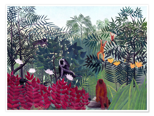 Premiumposter Tropical Forest with Monkeys