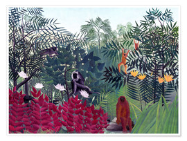 Premiumposter  Tropical Forest with Monkeys - Henri Rousseau