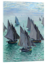 Akrylglastavla  Fishing boats in calm weather - Claude Monet