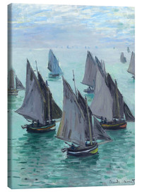 Canvastavla  Fishing boats in calm weather - Claude Monet