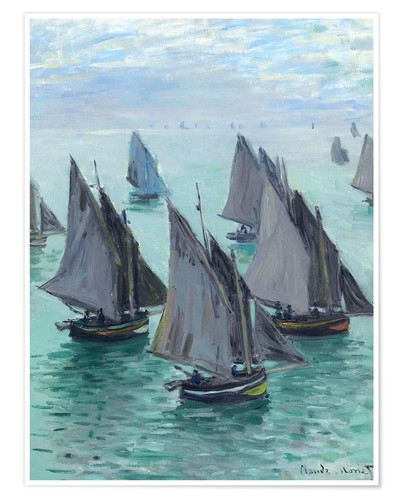 Premiumposter Fishing boats in calm weather