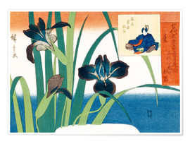 Premiumposter Summer, irises at Yatsuhashi
