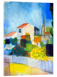 Akrylglastavla  Bright house (första version) - August Macke