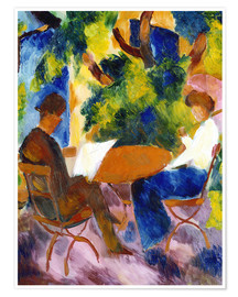 Premiumposter  Couple at the garden table - August Macke