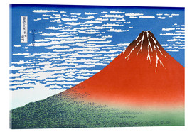 Akrylglastavla  Fine Wind, Clear Morning (Red Fuji) - Katsushika Hokusai