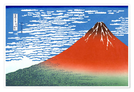 Premiumposter  Fine Wind, Clear Morning (Red Fuji) - Katsushika Hokusai