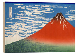 Trätavla  Fine Wind, Clear Morning (Red Fuji) - Katsushika Hokusai