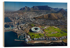 Trätavla  Cape Town Stadium and Table Mountain - David Wall