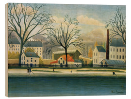 Trätavla  Suburb on the banks of the Marne - Henri Rousseau