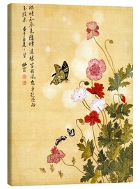 Canvastavla  Poppies and Butterflies - Ma Yuanyu