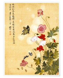 Premiumposter  Poppies and Butterflies - Ma Yuanyu