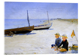 Akrylglastavla  Two boys sitting in the sunshine on skagen beach - Peder Severin Krøyer