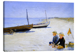 Canvastavla  Two boys sitting in the sunshine on skagen beach - Peder Severin Krøyer