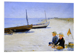 PVC-tavla  Two boys sitting in the sunshine on skagen beach - Peder Severin Krøyer