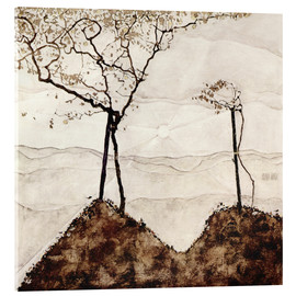 Akrylglastavla  Autumn sun and trees - Egon Schiele