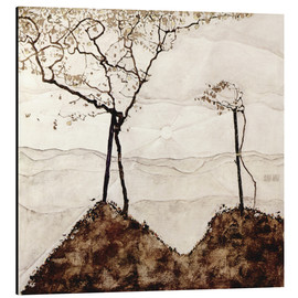 Aluminiumtavla  Autumn sun and trees - Egon Schiele