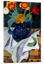 Akrylglastavla  Still life with tulips in a blue pot - Paula Modersohn-Becker