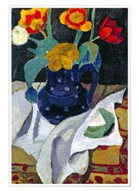 Poster Still life with tulips in a blue pot