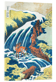 Akrylglastavla  Two men washing a horse at a waterfall - Katsushika Hokusai