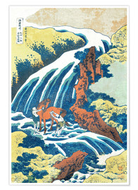 Premiumposter  Two men washing a horse at a waterfall - Katsushika Hokusai