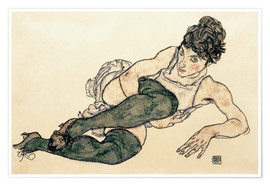 Premiumposter Reclining Woman with Green Stockings