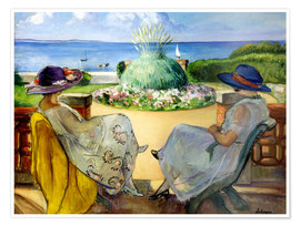 Premiumposter Two women on a terrace by the sea