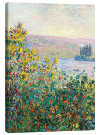 Canvastavla  Flower Beds at Vetheuil - Claude Monet