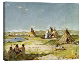 Canvastavla  Camp of the Indians in Wyoming - Frank Buchser