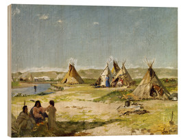 Trätavla  Camp of the Indians in Wyoming - Frank Buchser