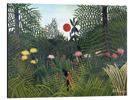 Aluminiumtavla  Jungle landscape with setting Sun - Henri Rousseau