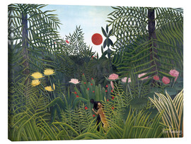 Canvastavla  Forest Landscape with Setting Sun - Henri Rousseau