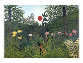 Premiumposter  Forest Landscape with Setting Sun - Henri Rousseau