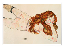 Premiumposter  Lying on his stomach nude - Egon Schiele