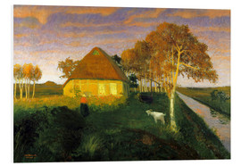 PVC-tavla  Moor cottage in the evening sun - Otto Modersohn
