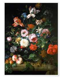 Premiumposter Still life with flowers and fruits