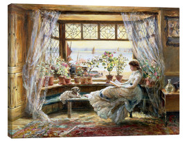 Canvastavla  Reading by the Window, Hastings - Charles James Lewis