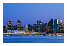 Premiumposter  Vancouver skyline at night - Rob Tilley