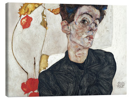 Canvastavla  Self-Portrait with Chinese Lantern Plant - Egon Schiele
