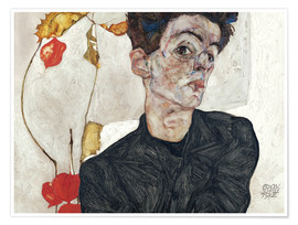 Poster  Self-Portrait with Chinese Lantern Plant - Egon Schiele