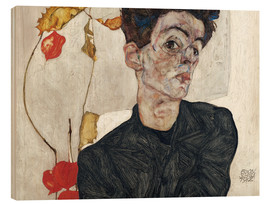 Trätavla  Self-Portrait with Chinese Lantern Plant - Egon Schiele