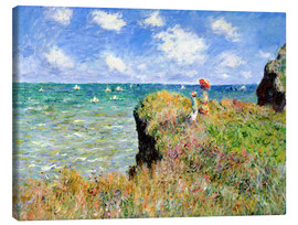 Canvastavla  The Cliff Walk at Pourville - Claude Monet