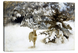 Canvastavla  A hare in the snow - Bruno Andreas Liljefors