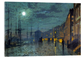 Akrylglastavla  Docks at moonlight - John Atkinson Grimshaw