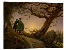 Akrylglastavla  Two men contemplating the moon - Caspar David Friedrich