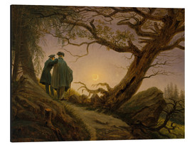Aluminiumtavla  Two men contemplating the moon - Caspar David Friedrich