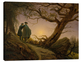 Canvastavla  Two men contemplating the moon - Caspar David Friedrich