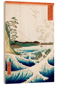 Trätavla  The Sea Off Satta in Suruga Province - Utagawa Hiroshige
