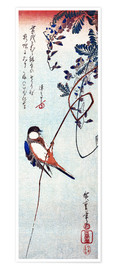 Premiumposter  Swallow sitting on a branch of a wisteria - Utagawa Hiroshige