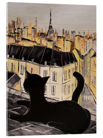 Akrylglastavla  Black cat on the roofs of Paris - JIEL