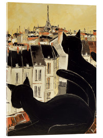 Akrylglastavla  Black cats on Parisian roof - JIEL
